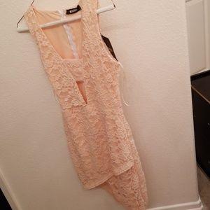 Peach assymetric embroidered sleepless dress